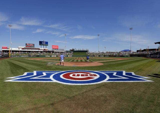 Grounds crew members prepare the infield before the Arizona Diamondbacks play the Chicago Cubs in a spring training baseball game on Thursday, Feb. 27, 2014, in Mesa, Ariz. It was the Cubs' first Cactus League game in their new spring training facility. (AP Photo/Matt York)