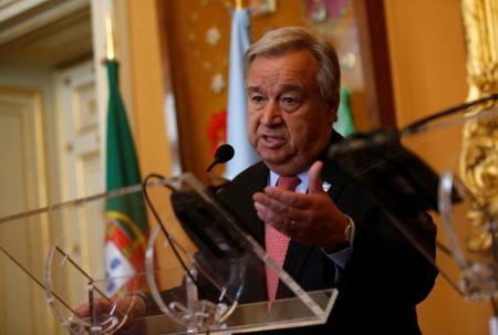 U.N. Secretary-General Guterres attends a news conference with Portugal's Foreign Affairs minister Santos at the Necessidades Palace in Lisbon