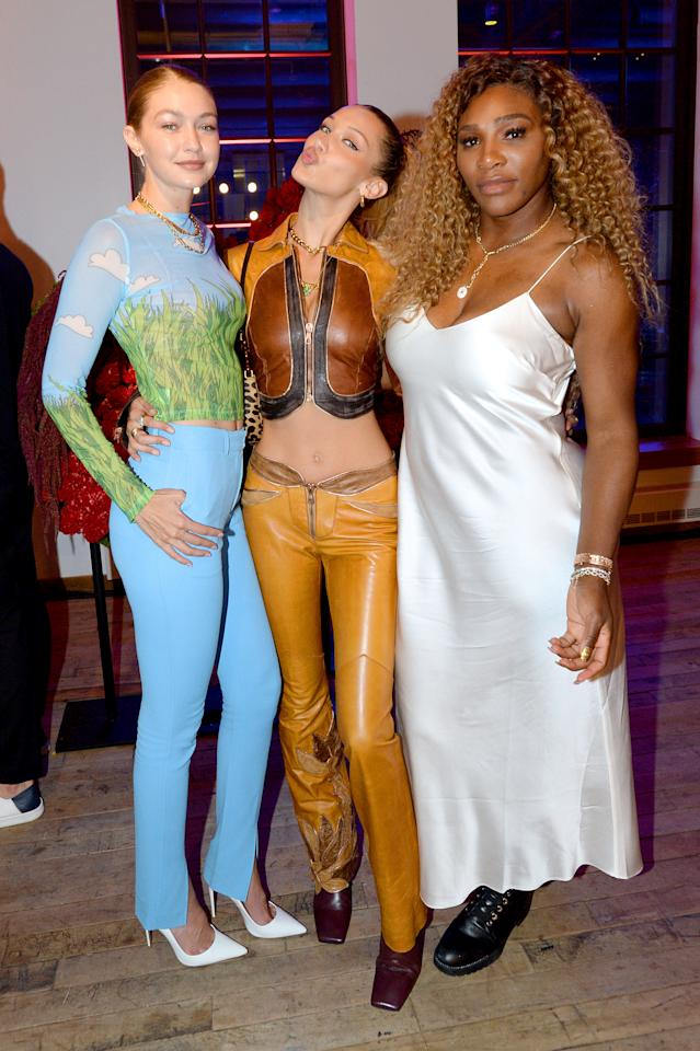 Gigi Hadid, Bella Hadid, and Serena Williams celebrate the launch of YouTube.com/Fashion on September 09, 2019 in New York City.