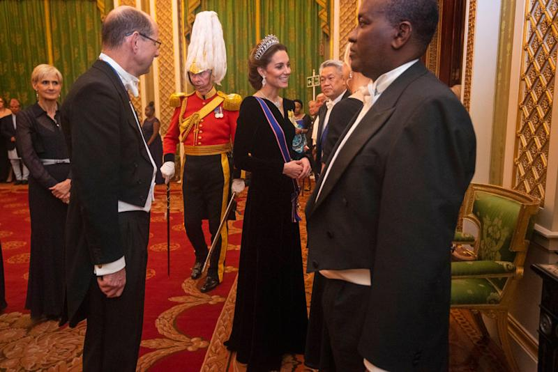 The Duchess of Cambridge looked regal in a velvet Alexander McQueen gown [Photo: Getty]
