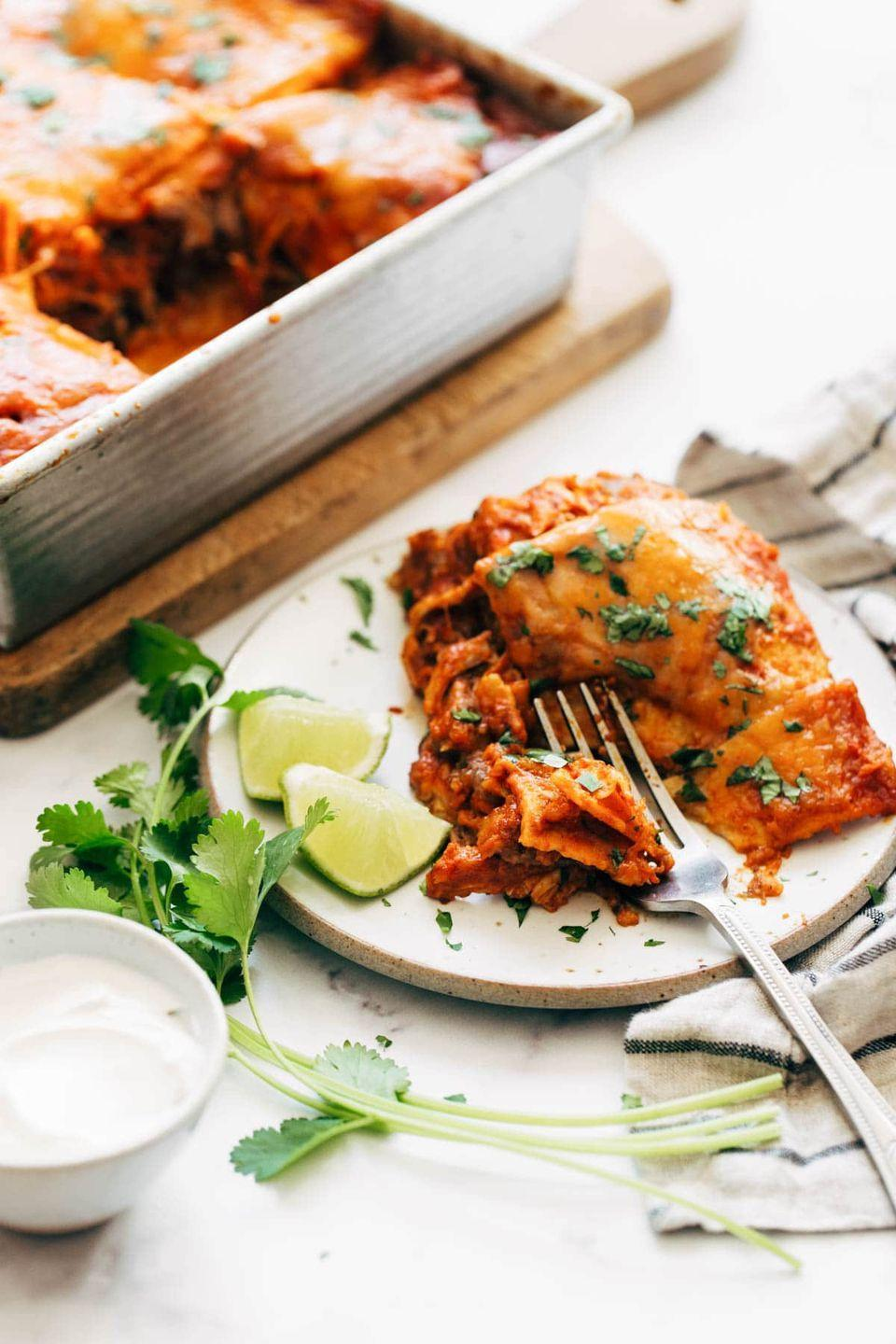 """<p>You can make your own enchilada sauce right in your blender to create an extra-indulgent, yet easy, dish.</p><p><strong>Get the recipe at <a href=""""https://pinchofyum.com/chicken-enchilada-casserole"""" rel=""""nofollow noopener"""" target=""""_blank"""" data-ylk=""""slk:Pinch of Yum"""" class=""""link rapid-noclick-resp"""">Pinch of Yum</a>.</strong> </p>"""