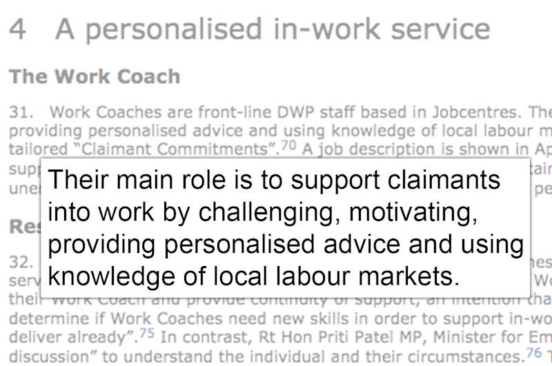 <strong>MPs described the main role of a work coach to be 'support[ing] claimants into work'</strong>