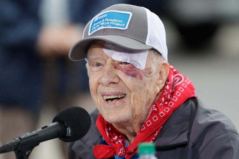 Former President Jimmy Carter at a Habitat for Humanity project on Oct. 7, 2019, in Nashville, Tennessee.