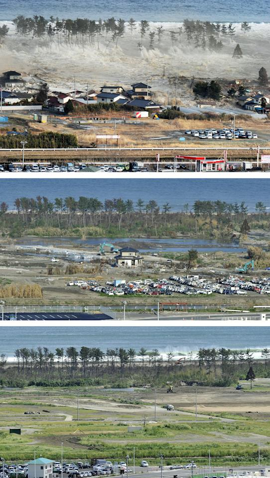 This combination of three photos taken over a six month period shows the March 11 tsunami, and its aftermath, in Natori, Miyagi prefecture, northern Japan. The top photo, taken March 11, 2011 shows the tsunami rushing towards an urban area immediately after an earthquake. The middle photo, taken June 3, 2011, shows the same area with one remaining house, while the bottom photo, taken Sept. 6, 2011, shows the area after the house was removed. (AP Photo/Kyodo News) JAPAN OUT, MANDATORY CREDIT, NO LICENSING IN CHINA, FRANCE, HONG KONG, JAPAN AND SOUTH KOREA