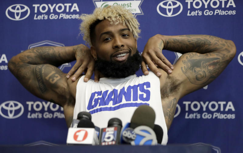 Odell Beckham Jr.'s rock-star appeal carries over to Europe. (AP)
