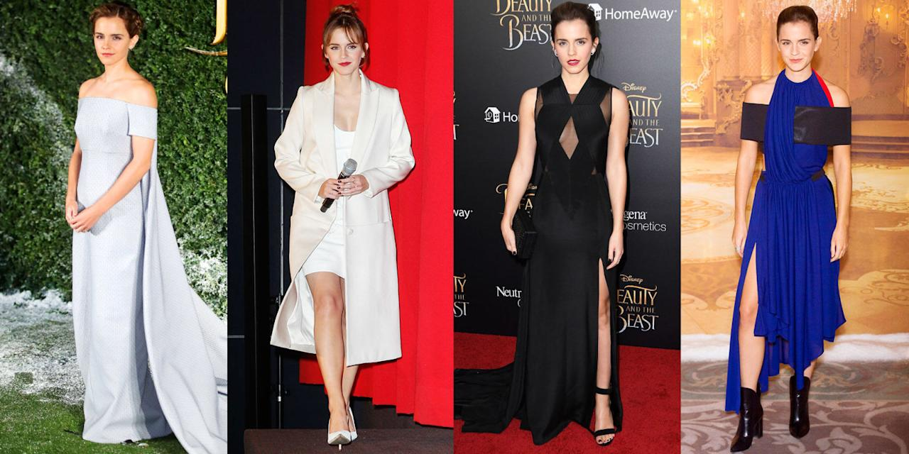 """<p>Emma Watson is a young lady of many accomplishments. She's been cast as a Disney princess (<a rel=""""nofollow"""">in <em>Beauty and the Beast</em>, naturally</a>), graduated from an Ivy League school, and has launched a global gender equality movement for the United Nations with HeforShe. And sartorially she's just as prolific, wearing suits, gowns, and LBDs perfectly. No wonder <a rel=""""nofollow"""">she was recently named the world's most outstanding woman</a>. See all her best looks.</p>"""