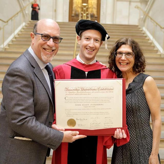 "<p>The Facebook founder dropped out of Harvard, so his parents were pretty proud when he addressed Harvard's graduating class of 2017 and received an honorary Doctor of Laws degree: ""Mom, I always told you I'd come back and get my degree."" (Photo: <a href=""https://www.instagram.com/p/BUhbwuZDGPx/"" rel=""nofollow noopener"" target=""_blank"" data-ylk=""slk:Mark Zuckerberg via Instagram"" class=""link rapid-noclick-resp"">Mark Zuckerberg via Instagram</a>) </p>"