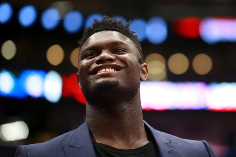 Pelicans vice president David Griffin said he expects Zion Williamson to return around the eight-week mark in his recovery after knee surgery. (Sean Gardner/Getty Images)