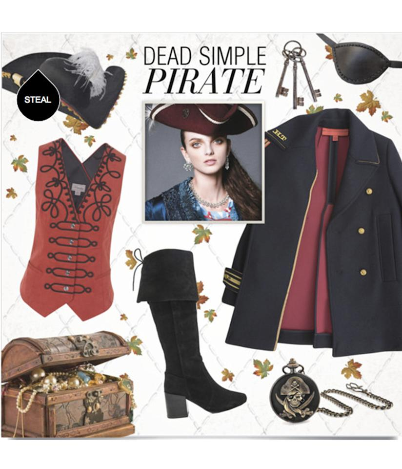 """<p>Channel your inner swashbuckler in this surprisingly chic <a rel=""""nofollow"""" href=""""http://www.polyvore.com/219_pirates_life_for_me/set?id=209628768"""">pirate costume</a>. </p>"""