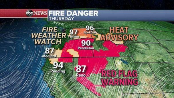 PHOTO: The fire danger is high in Nevada and Oregon on Thursday. (ABC News)