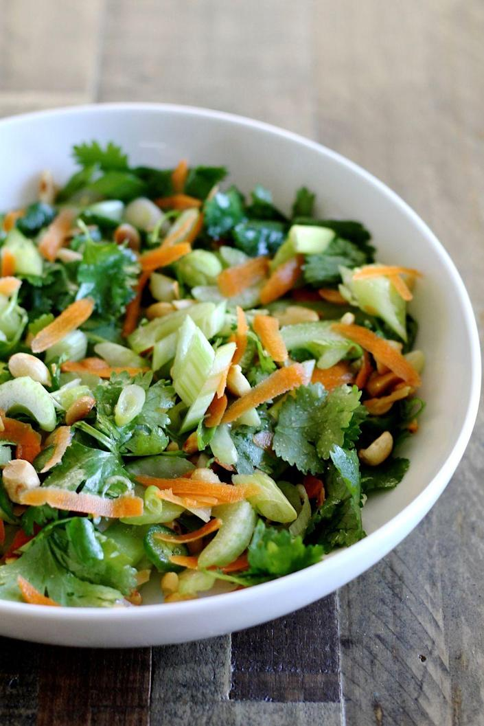 "<p>This crunchy mix will delight your taste buds. Just toss a handful of ingredients together with a wildly addictive vinaigrette and you're done. </p><p><strong>Get the recipe on <a href=""http://littlechefbigappetite.com/thai-celery-salad-recipe/"" rel=""nofollow noopener"" target=""_blank"" data-ylk=""slk:Little Chef Big Appetite"" class=""link rapid-noclick-resp"">Little Chef Big Appetite</a>. </strong></p>"