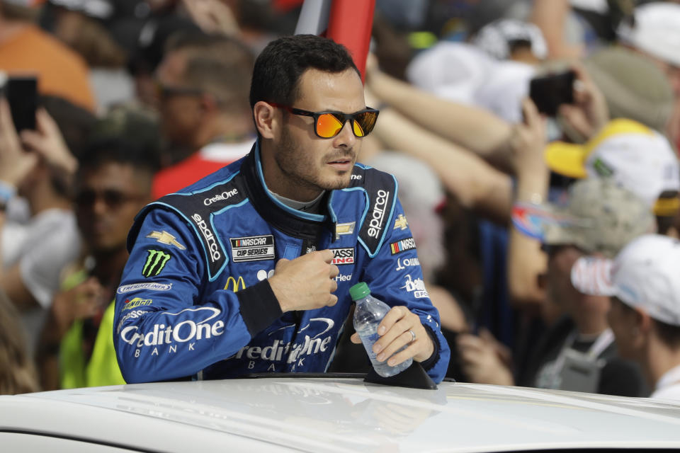 Kyle Larson before the NASCAR Daytona 500 auto race Sunday, Feb. 16, 2020, at Daytona International Speedway in Daytona Beach, Fla. (AP Photo/Chris O'Meara)