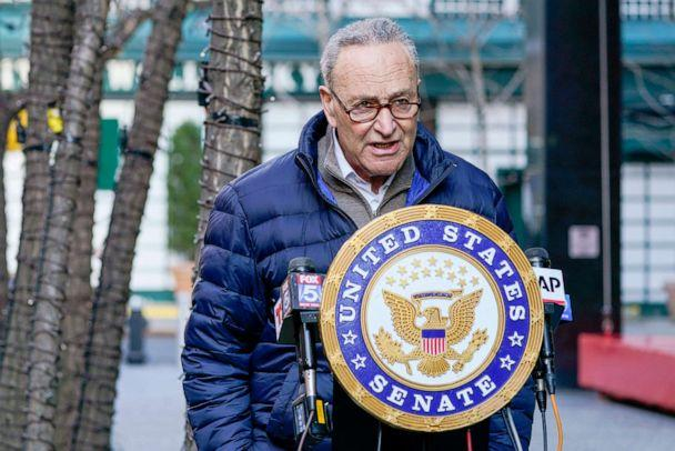 PHOTO: Senate Minority Leader Chuck Schumer speaks to reporters during a news conference in New York,  Jan. 12, 2021. (Mary Altaffer/AP)