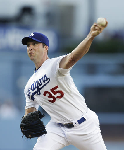 Los Angeles Dodgers starting pitcher Chris Capuano throws against the San Diego Padres during the first inning of a baseball game on Saturday, Aug. 31, 2013, in Los Angeles. (AP Photo/Jae C. Hong)