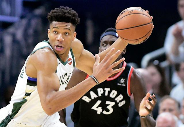 While Giannis Antetokounmpo acknowledges that LeBron James' departure opened up the East, that fact should not diminish what the Bucks have accomplished. (AP)