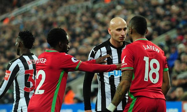 "<span class=""element-image__caption"">Jonjo Shelvey squares up to Swansea's Jordan Ayew on a day when the Newcastle midfielder was in argumentative mood.</span> <span class=""element-image__credit"">Photograph: TGSPhoto/Rex/Shutterstock</span>"