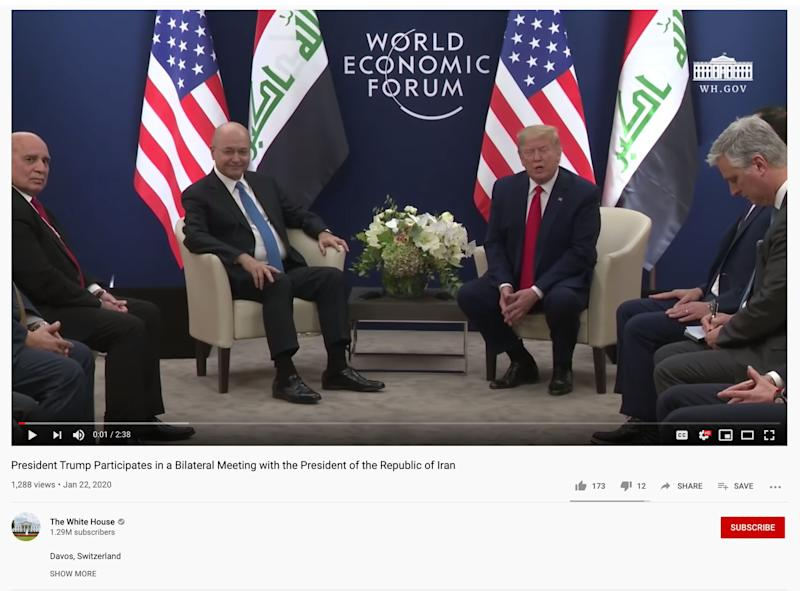 A screenshot from the video uploaded by the White House's official YouTube account (Photo: YouTube )