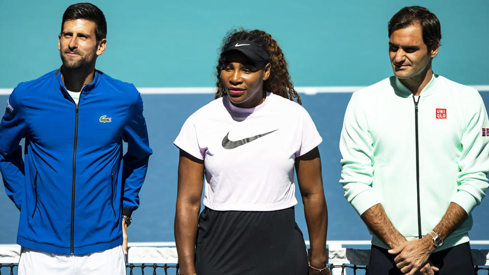 Novak Djokovic, Serena Williams and Roger Federer, pictured here at the Miami Open in 2019.