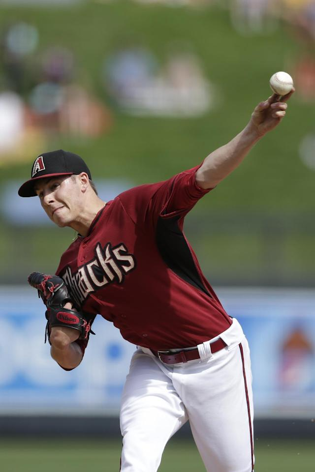 Arizona Diamondbacks starting pitcher Patrick Corbin pitches to a Kansas City Royals batter during the first inning of an exhibition spring training baseball game Wednesday, March 5, 2014, in Scottsdale, Ariz. (AP Photo/Gregory Bull)