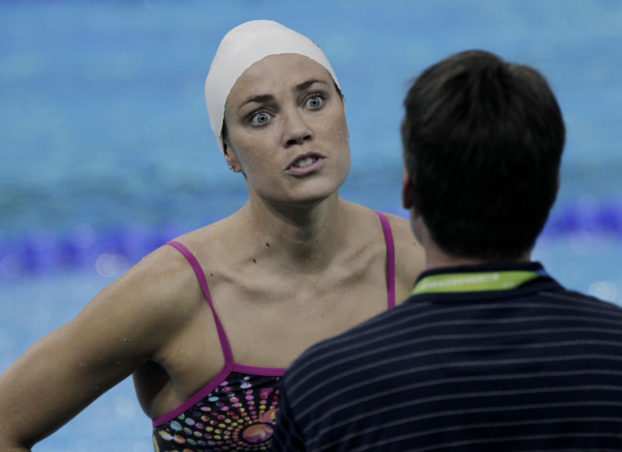 U.S. swimmer Natalie Coughlin reacts during a training session at the FINA 2011 Swimming World Championships in Shanghai, China, Thursday, July 21, 2011. (AP Photo/Mark Baker)