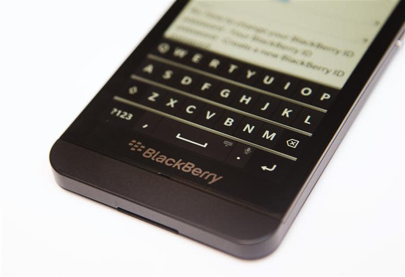 A view shows the keyboard of the Blackberry Z10 at a Rogers store in Toronto