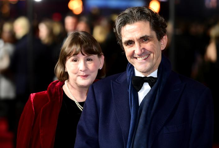 Stephen McGann (right) and Heidi Thomas attending the 1917 World Premiere at Leicester Square, London. (Photo by Ian West/PA Images via Getty Images)