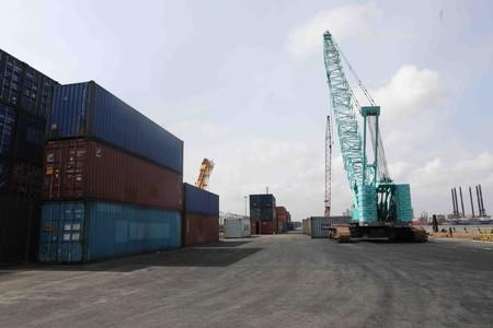 Cranes and containers seen at APM terminal at Nigeria's gateway port in Apapa, Lagos
