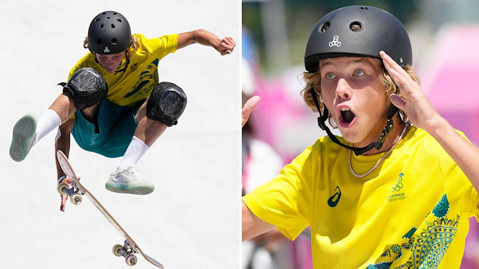 Pictured here, a shocked Keegan Palmer after winning skateboarding gold at the Olympic Games.