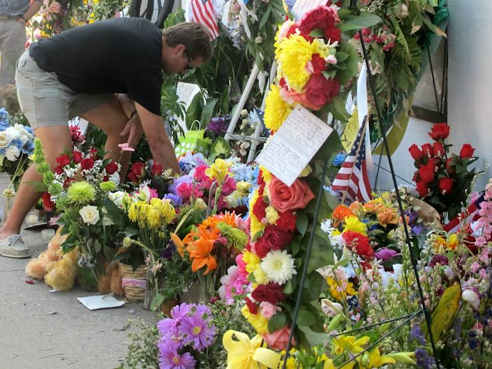 A memorial outside Emanuel AME Church in Charleston, S.C.. Click image to see more photos. (AP Photo/Bruce Smith)