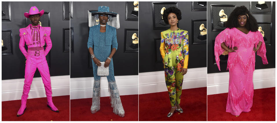 This combination of photos shows fashion worn by Lil Nas X, from left, Billy Porter, Esperanza Spalding and Yola at the 62nd annual Grammy Awards at the Staples Center on Sunday, Jan. 26, 2020, in Los Angeles. (Photos by Jordan Strauss/Invision/AP)