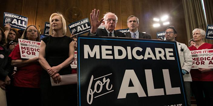"en. Bernie Sanders (I-VT) speaks while introducing health care legislation titled the ""Medicare for All Act of 2019"" with Sen. Kirsten Gillibrand (D-NY) and Sen. Jeff Merkley (D-OR), during a news conference on Capitol Hill, on April 9, 2019 in Washington, DC"