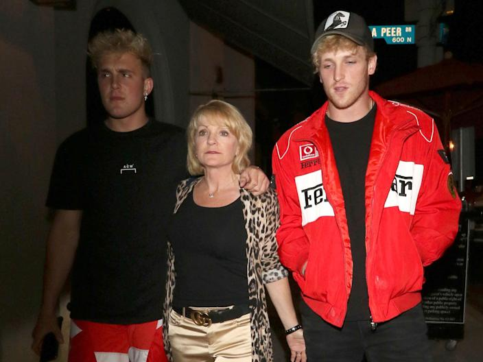 From left: Jake Paul; the Pauls' mother, Pamela Stepnick; and Logan Paul.