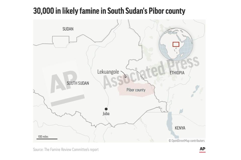 This preview image of an AP digital embed shows the location of Pibor County in South Sudan where more than 30,000 people said to be in likely famine. (AP Digital Embed)