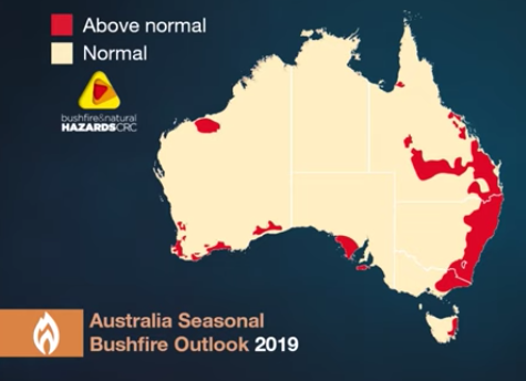 Above normal bushfire risk shown in BoM map predicted for Australia's east coast for 2019.