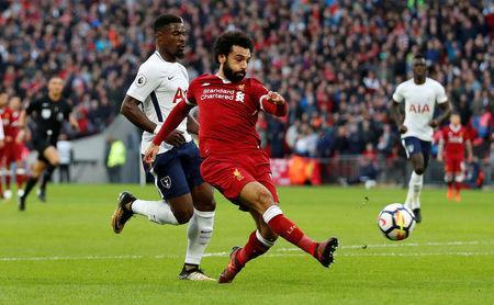 Serge Aurier was deployed on Spurs' left to deal with Mohamed Salah's pace at Wembley.