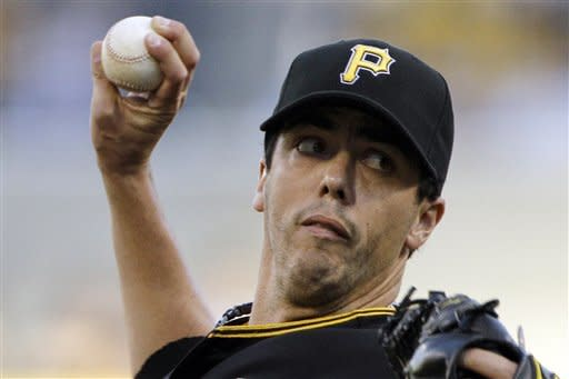 Pittsburgh Pirates starting pitcher Jeff Karstens delivers during the first inning of a baseball game against the Arizona Diamondbacks in Pittsburgh on Tuesday, Aug. 7, 2012. (AP Photo/Gene J. Puskar)