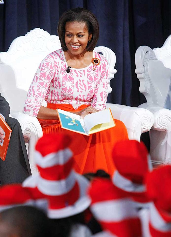 """First Lady Michelle Obama joined celebs including Jessica Alba and Padma Lakshmi, and nearly 400 kids at the Library of Congress in Washington, D.C. to celebrate the National Education Association's 14th annual Read Across America campaign on Wednesday. Mrs. Obama kicked off the proceedings by reading the Dr. Seuss classic, <i>Green Eggs and Ham</i>. Leigh Vogel/<a href=""""http://www.wireimage.com"""" target=""""new"""">WireImage.com</a> - March 2, 2011"""