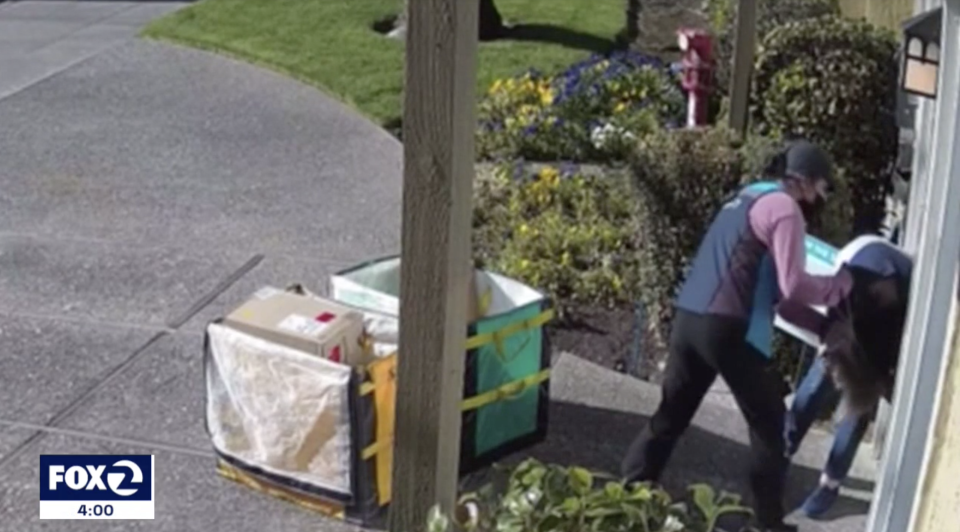 A video still showing the Amazon driver's attack on the woman in California.