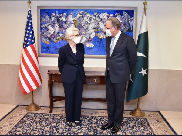 US Deputy Secretary of State Wendy Sherman with Pakistan's Foreign Minister Shah Mehmood Qureshi (Image credit: US State Department/Twitter)