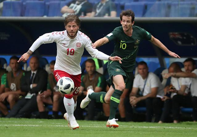 Soccer Football - World Cup - Group C - Denmark vs Australia - Samara Arena, Samara, Russia - June 21, 2018 Denmark's Lasse Schone in action with Australia's Robbie Kruse REUTERS/Pilar Olivares
