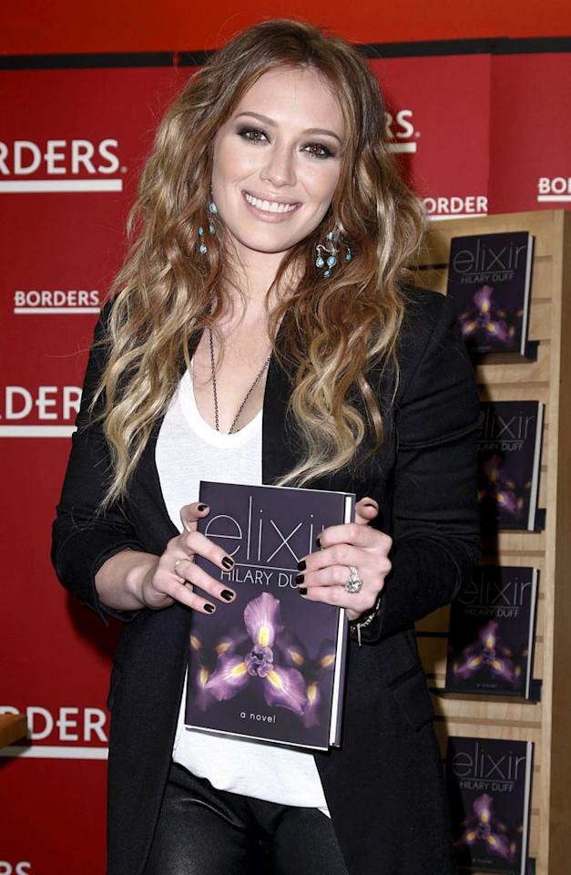 """Another star who's diversifying? Actress, singer, and author Hilary Duff promoted her first young adult novel <i>Elixir</i> at Borders in New York City Monday. Brian Ach/<a href=""""http://www.wireimage.com"""" target=""""new"""">WireImage.com</a> - October 11, 2010"""