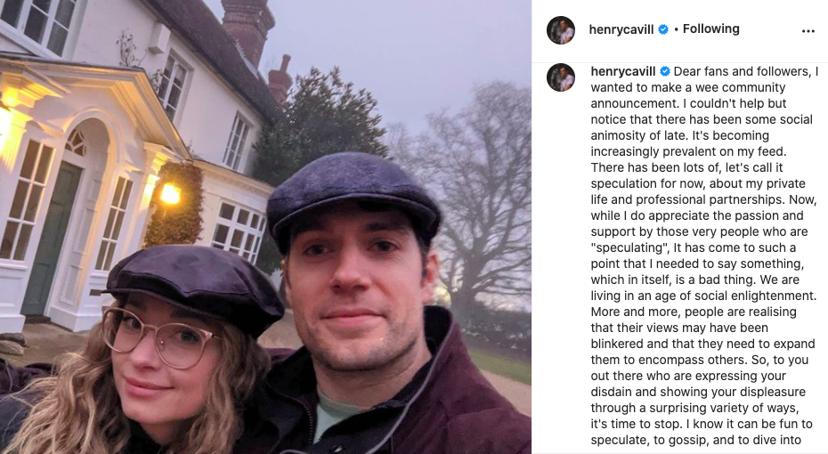 Henry Cavill hits out at fans who have been sending him nasty commentsInstagram