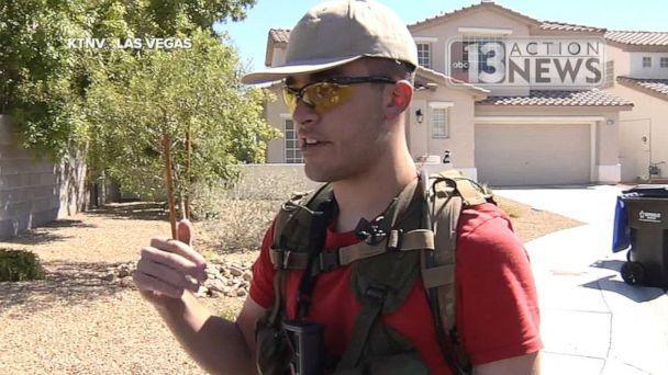 PHOTO: Conor Climo, 23, seen here in 2016, was arrested and charged with plotting to bomb a synagogue or gay club in Las Vegas on Thursday, Aug. 8, 2019. In 2016, he was patrolling his neighborhood with an assault rifle. (KTNV)