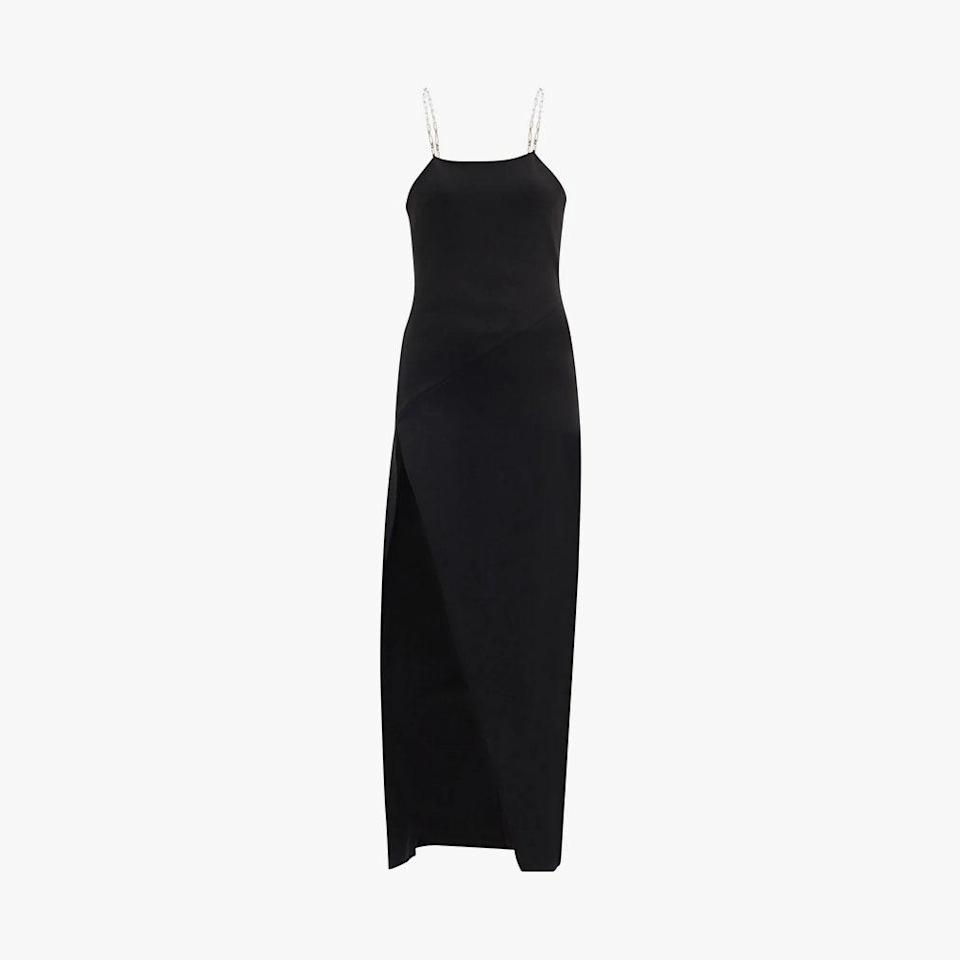 """$855, MATCHESFASHION.COM. <a href=""""https://www.matchesfashion.com/us/products/The-Attico-Crossover-chain-strap-crepe-dress-1393153"""" rel=""""nofollow noopener"""" target=""""_blank"""" data-ylk=""""slk:Get it now!"""" class=""""link rapid-noclick-resp"""">Get it now!</a>"""