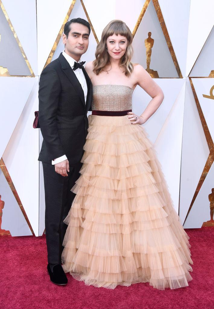 <p>Kumail Nanjiani and Emily V. Gordon attend the 90th Academy Awards in Hollywood, Calif., March 4, 2018. (Photo: Getty Images) </p>