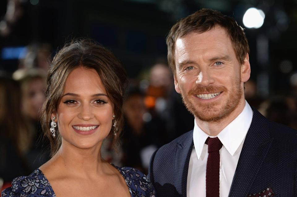LONDON, ENGLAND - OCTOBER 19:  Alicia Vikander and Michael Fassbender arrive for the UK premiere of
