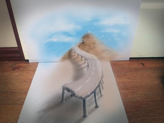 """<b>Bridge:</b> Bruin has been airbrushing for 10 years, but only began experimenting with 3-D illusion drawings in 2010, he told the Daily News. <br> <br> <a href=""""http://www.jjkairbrush.nl/home/"""" rel=""""nofollow noopener"""" target=""""_blank"""" data-ylk=""""slk:(Courtesy of Ramon Bruin)"""" class=""""link rapid-noclick-resp"""">(Courtesy of Ramon Bruin)</a>"""