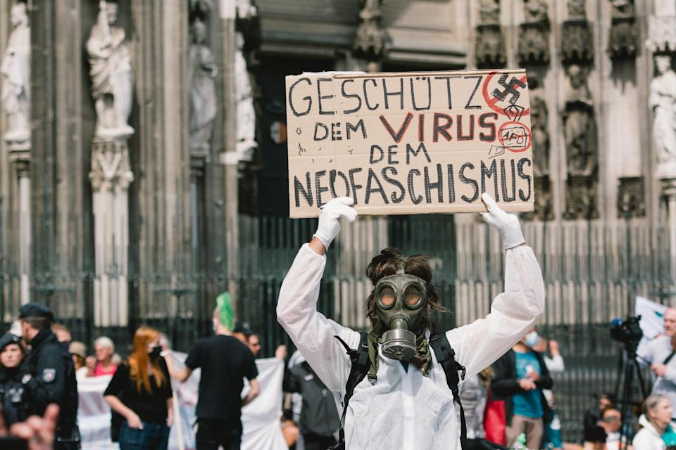 A rally against coronavirus policies in Cologne, Germany, May 16, 2020. (Ying Tang/NurPhoto)