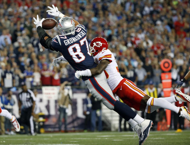 Television ratings for Chiefs-Patriots were down from last year's NFL opening game. (AP)