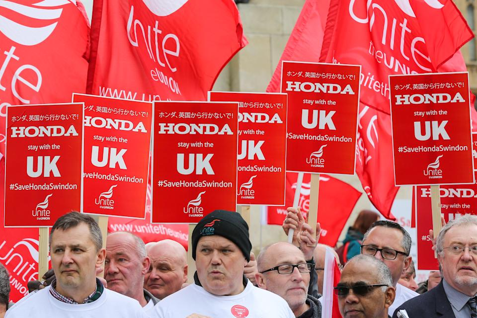 Hundreds of Honda car workers protested to save the plant in Swindon back in 2019. Photo: Getty Images